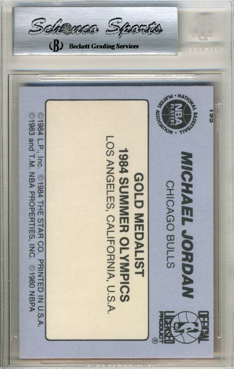 84-85 Michael Jordan Star Co #195 Olympian BGS 9 Back Joel Rusco