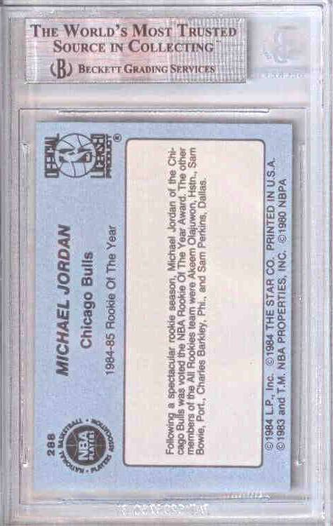84-85 Michael Jordan Star Co #288 Rookie of the Year BGS 8.5 Back Jarret Kahn