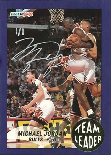 92-93 Michael Jordan Fleer Team Leader Buy Back Autograph