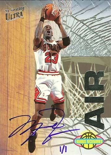 93-94 Michael Jordan Fleer Ultra Famous Nicknames Buy Back Autograph