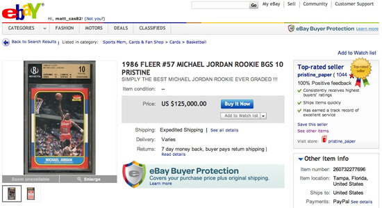 BGS 10 Michael Jordan Rookie Card
