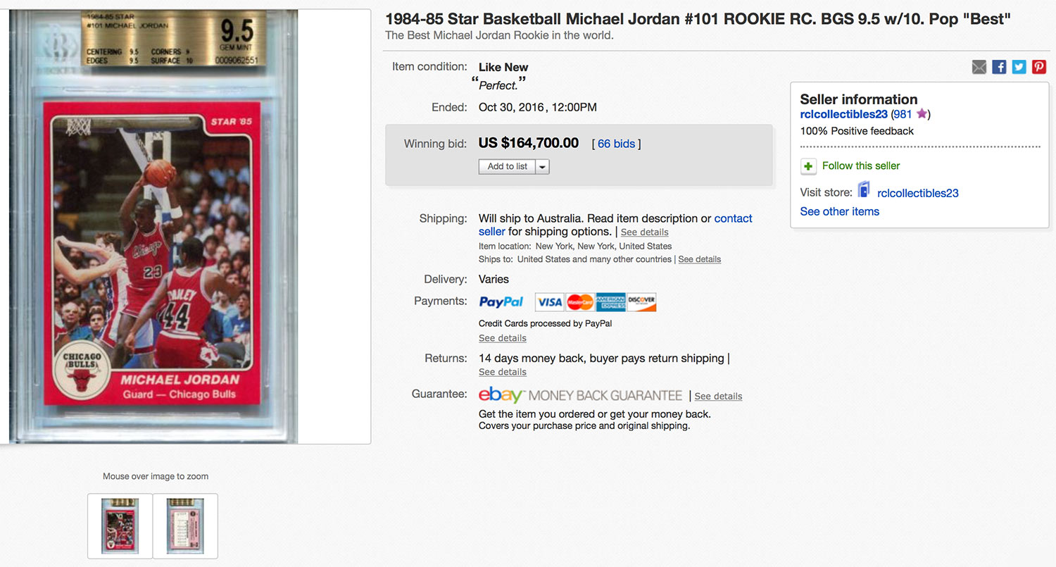 Michael Jordan XRC BGS 9.5 on eBay