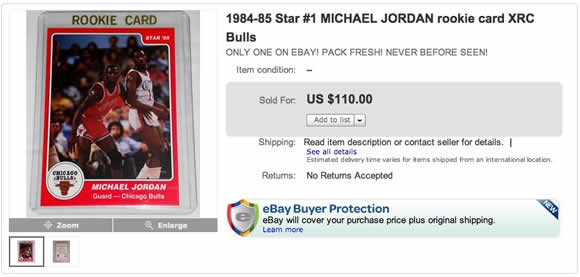 Unknown Michael Jordan Star Co Sale