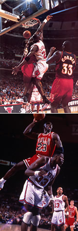 Michael Jordan dunking over Dikembe Mutombo and Patrick Ewing